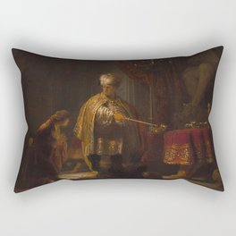Rembrandt - Daniel and Cyrus before the Idol Bel (1633) Rectangular Pillow
