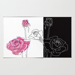 Roses - positive and negative Rug