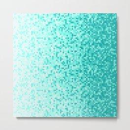 Sky Blue Pixilated Gradient Metal Print