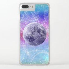 Moon Vortex Clear iPhone Case