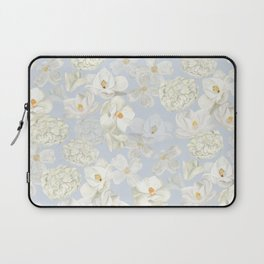 White Floral on Pale Blue Laptop Sleeve