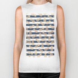 Nautical modern navy blue white stripes blush beige pineapple Biker Tank