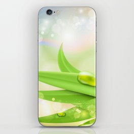 pastel colors with green grass and dew iPhone Skin