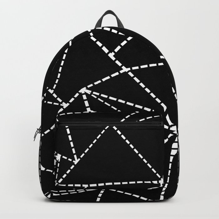 Abstract Dotted Lines White on Black Backpack