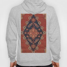 Southwest Tuscan Shapes I // 18th Century Aged Dark Blue Redish Yellow Colorful Ornate Rug Pattern Hoody