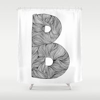 font Shower Curtains featuring Hand Drawn Font B by benw