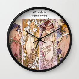 "Alfons Mucha, "" four flowers "" Wall Clock"