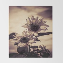 Post card Sunflowers Throw Blanket