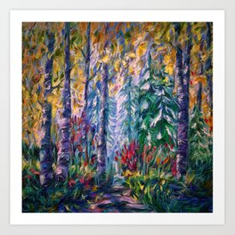 Deep in the Woods - One of the best of my forest path oil paintings with a palette knife. Art Print