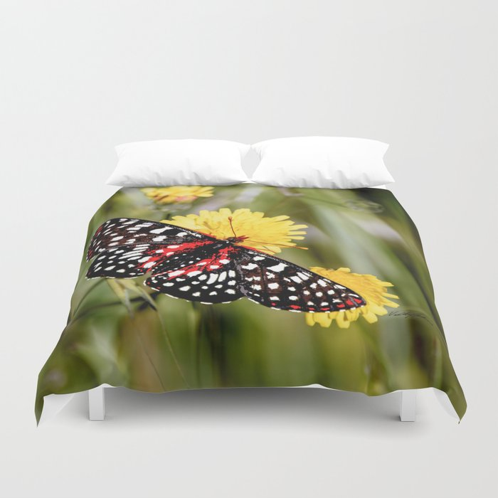 A Red Dotted Checkerspot Duvet Cover