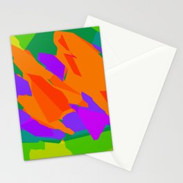 colorful abstract background in purple orange green and blue Stationery Cards