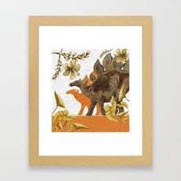 Jurassic Stegosaurus: Orange & Gold Framed Art Print