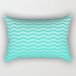 Turquoise Tropical Faded Ombre-Shaded Ocean Blue Green Sea Chevron Rectangular Pillow