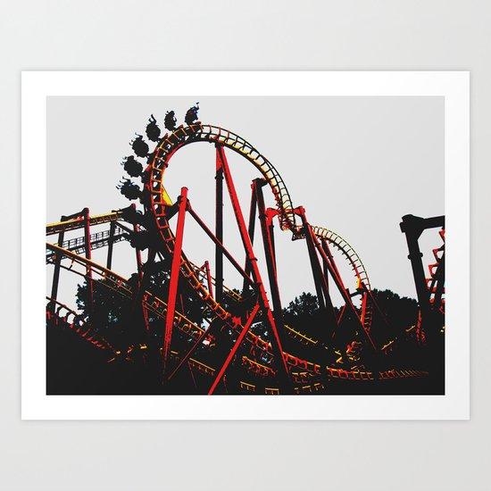 Roller Yellow Coaster Red Art Print