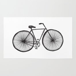 Hand Drawn Doodle Style Bicycle Rug