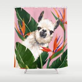 Llama In Bird Of Paradise Flowers Shower Curtain