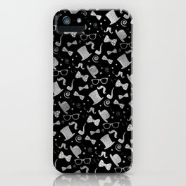 Hipster Elements Pattern silver on black iPhone Case