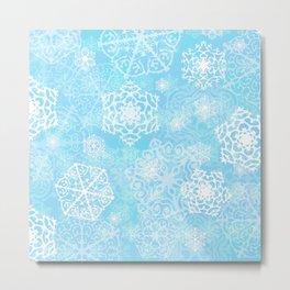 Snowflakes - Blue Metal Print