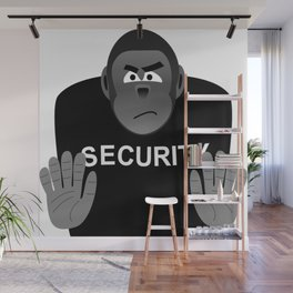 Monkey Security guard stopping the crowd Wall Mural