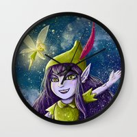 neverland Wall Clocks featuring Lulu Neverland by Anais.Lalovi