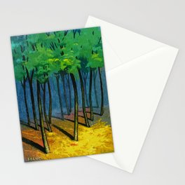 Sunset light in the forest Stationery Cards