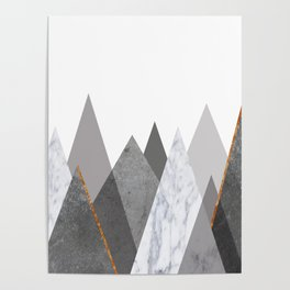 Marble Gray Copper Black and White Mountains Poster