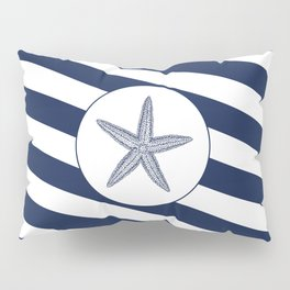 Nautical Starfish Navy Blue & White Stripes Beach Pillow Sham