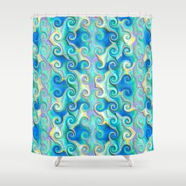 Seamless Wave Spiral Abstract Pattern Shower Curtain