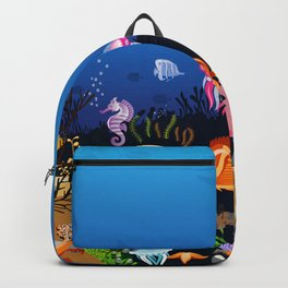 Beautiful Coral Reef Animals Backpack