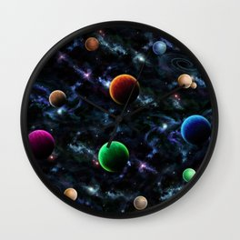 Space Moons Wall Clock