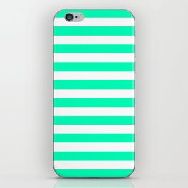 Mint and White Stripes iPhone Skin
