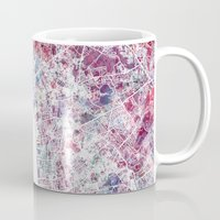 liverpool Mugs featuring Liverpool map by MapMapMaps.Watercolors