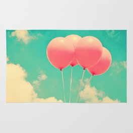 Balloons in the sky (pink ballons in retro blue sky) Rug