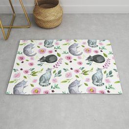 Watercolor Cats and Flowers Pattern Rug