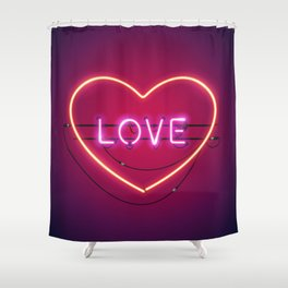 Pink Love in the Heart Neon Sign Shower Curtain
