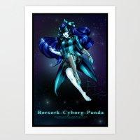 berserk Art Prints featuring Berserk Cyborg Panda by Berserk Cyborg Panda
