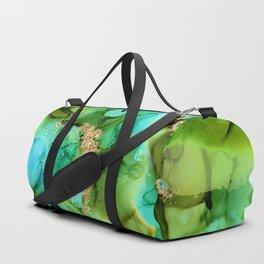 Green And Turquoise Aqua Mermaid Alcohol Ink Duffle Bag