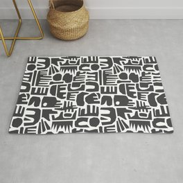 Industrial Park | Abstract Black & White Rug