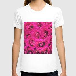 Romantic Pink Purple Roses Pattern T-shirt