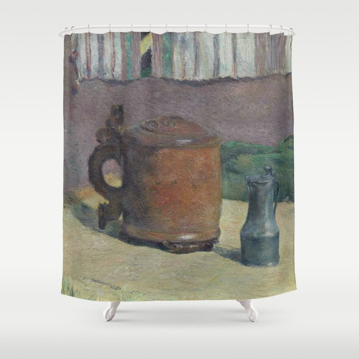 Paul Gauguin - Wood Tankard and Metal Pitcher (1880) Shower Curtain