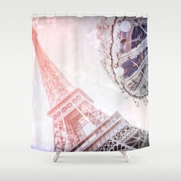 Shimmering Pink Paris Memories Shower Curtain