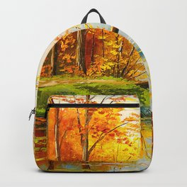 Bridge in the autumn forest Backpack