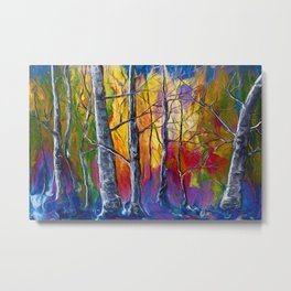 Enchanted Universe Sunset Forest Painting Metal Print