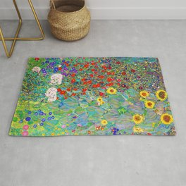 Gustav Klimt - Farm Garden with Sunflowers - Digital Remastered Edition Rug