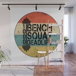 1000 Pounds Bench Squat Deadlift Powerlift Club Fitness Bodybuilder Bodybuilding Vintage Retro Wall Mural