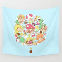 nintendo Wall Tapestries featuring Mario Characters / Nintendo  by HypersVE