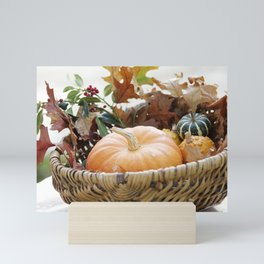 Fresh pumpkin in basket Mini Art Print