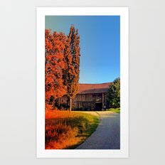 Traditional farm, rainbow colors light | architectural photography Art Print