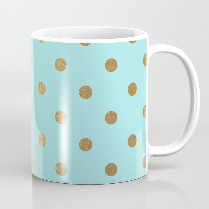 Gold Polka Dots On Aqua Background Luxury Turquoise Pattern Coffee Mug