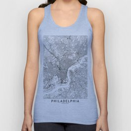 Philadelphia White Map Unisex Tank Top